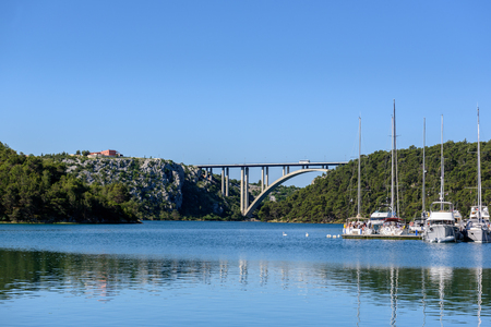 Port and cityscape of Skradin. Skradin is a small medieval town at entrance Krka national park in Sibenik,Croatia