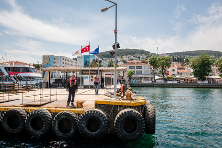 Pier of Heybeliada island.The island is one of four islands named Princes Islands in the Sea of Marmara, near Istanbul, Turkey.20 May 2017 Editorial
