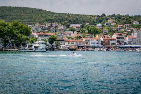 View of Burgazada island from the sea.The island is one of four islands named Princes Islands in the Sea of Marmara, near Istanbul, Turkey.20 May 2017 Editorial