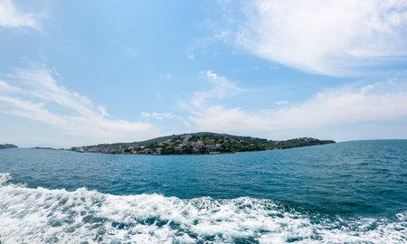 Panoramic View of kinaliada island.The island is one of four islands named Princes Islands in the Sea of Marmara, near Istanbul, Turkey.20 May 2017