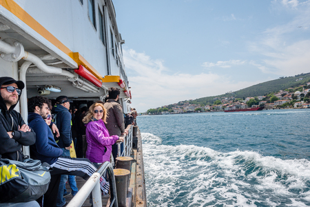 Unidentified People go by ferry through Marmara sea to Princes islands in Istanbul, Turkey.20 May 2017