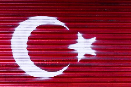 Turkish national flag painted on metal background.Turkish Flag Concept