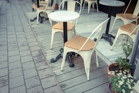 Retro Vintage View Of Pastel Cafe Chairstables Chair And Wild - Outdoor cafe style table and chairs