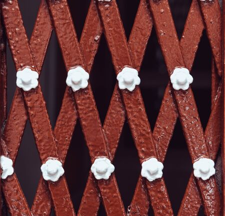 Metal plate texture and background. The metal surface rusted spots. Rusty metal grunge background.Metal background with horizontal and diagonal iron shapes.
