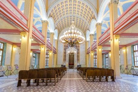 Binnenaanzicht van de Grand Synagogue of Edirne of Edirne Synagogue, een historische Sephardi-synagoge in Edirne, Turkije. 17 oktober 2015