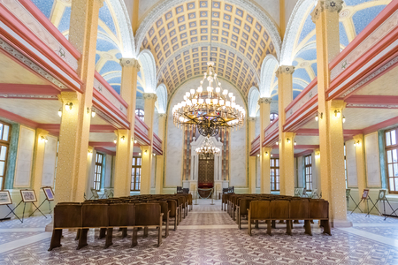 Interior view of Grand Synagogue of Edirne or Edirne Synagogue that is a historic Sephardi synagogue in Edirne,Turkey.17 October 2015