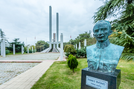 Treaty of Lausanne Monument and Museum with a bust of Ismet Inonu, the chief negotiator for Turkey in foreground.Edirne,Turkey.17 October 2015