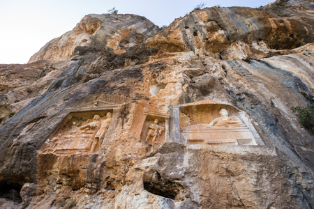 Exterior facade view of Adamkayalar,literally means man-rocks which located on top of Toros Mountains in Silifke,Mersin,Turkey.