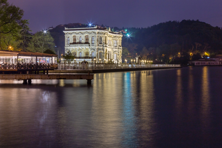 Long exposure shot of Kucuksu Palace or Goksu Pavilion after sunset near bosphorus in Istanbul, Turkey.02 May 2015 Stock Photo