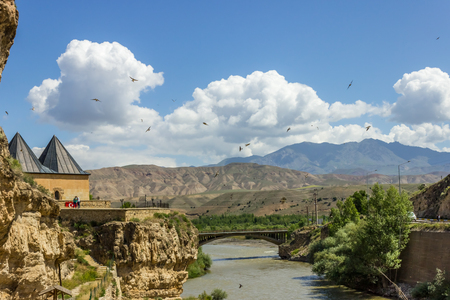 Exterior view of Mengujek Ghazi's tomb,Sultan Melih, and Firat River (Euphrates) in Kemah,Erzincan,Turkey.08 June 2014