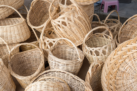 Many wooden hampers ,wickers,are sale on stall in Tarakli,Turkey  Stock Photo