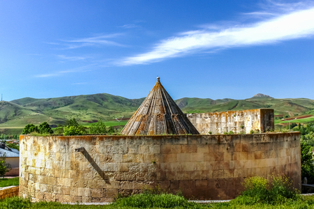Exterior view of Tomb of Melike Mama Hatun,a female ruler of the Saltukid dynasty,Tercan,Erzincan,Turkey.18 May 2014