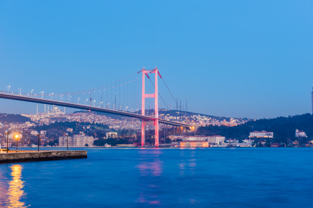 Night view of 15 July Martyrs Bridge or unofficially Bosphorus Bridge also called First Bridge over bosphorus in Istanbul,Turkey.03 January 2018