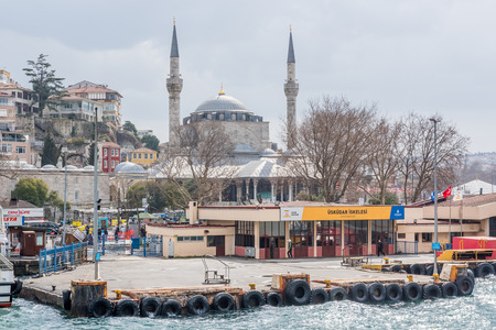 Pier of Uskudar locates at Asian side of Bosphorus  in Istanbul,Turkey.03 January 2018