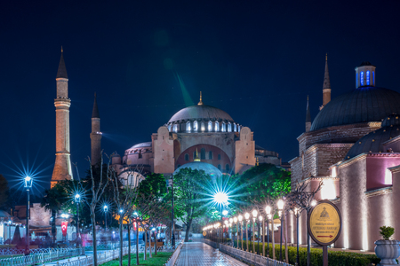 Night view of Hagia Sophia or Ayasofya,a Byzantine architecture, city landmark in Istanbul,Turkey.21 April 2018
