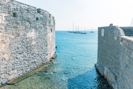 View of ancient old Castle of St. Peter or Bodrum Castle in Bodrum,Turkey.