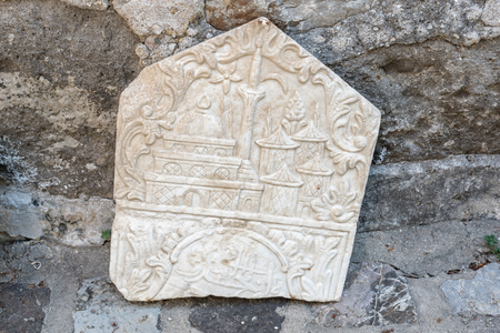 Detail of an ancient Roman marble sculpture or engraving in Bodrum Castle, Turkey. Sajtókép