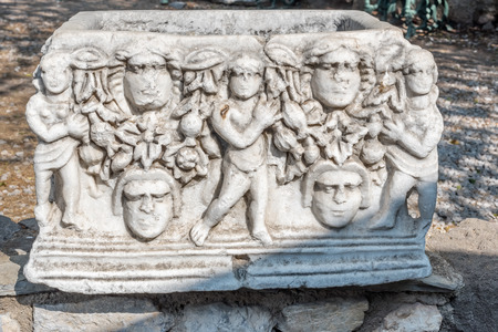 Detail of an ancient Roman marble sculpture or blocks in Castle of St. Peter or Bodrum Castle, Turkey.