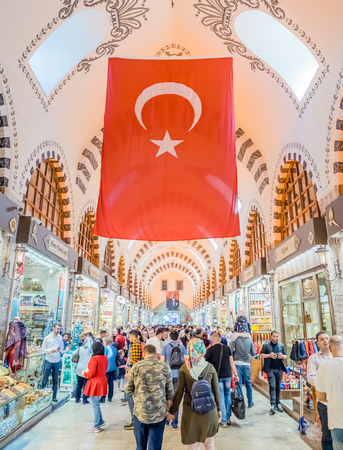 Unidentified people walk in Spice or Egyptian Bazaar,a famous covered shopping complex in Istanbul,Turkey.29 April 2018 Editorial