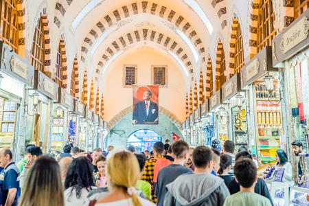 Unidentified people walk in Spice or Egyptian Bazaar,a famous covered shopping complex in Istanbul,Turkey.29 April 2018 新闻类图片