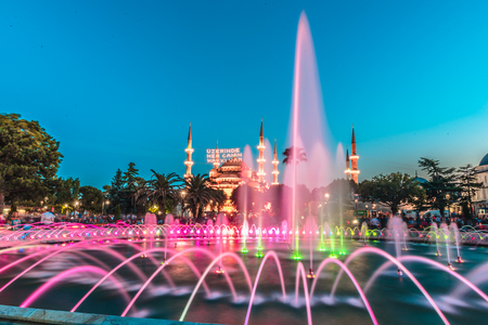 View of Sultanahmet Mosque with fountain in the foreground, Sultanahmet Park.ISTANBUL,TURKEY-JUNE 11,2017 Editorial