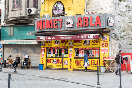 28 October 2017 :- Shop of Nimet Abla(Blessing Sister) is a famous lottery ticket seller,dealer at Eminonu district.Nimet in Istanbul,Turkey.