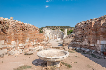 High Resolution panoramic view of ruins of the Church of Mary in ancient Greek city Ephesus, Selcuk, Turkey Stock Photo