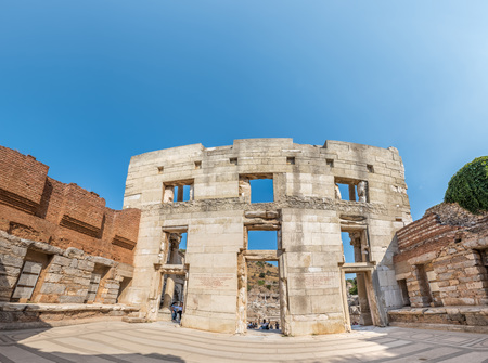 People explore Ancient Celsus Library at Ephesus historical ancient city, in Selcuk,Izmir,Turkey.20 August 2017.High Resolution panoramic view. Editorial