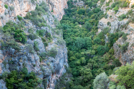 Aerial interior view of the Chasm of Heaven located in Silifke district, Mersin Turkey.