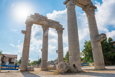 Marble Ceremonial Gate columns entrance of  Uzuncaburc Ancient city located in Uzuncaburc,Silifke,Mersin,Turkey