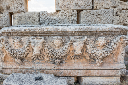 Marble relief at Uzuncaburc Ancient city located in Uzuncaburc,Silifke,Mersin,Turkey.