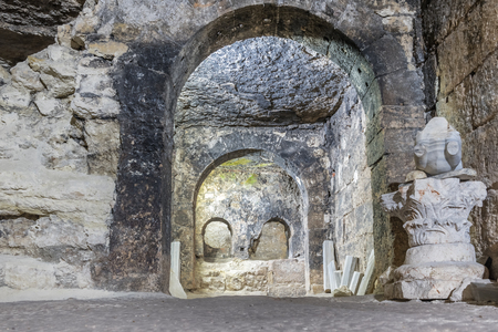 Interior of Aya Tekla underground cave Church also known as Saint Aya Thecla ,Aya Thekla, is ruined historic church of Byzantine.Silifke,Mersin,Turkey.