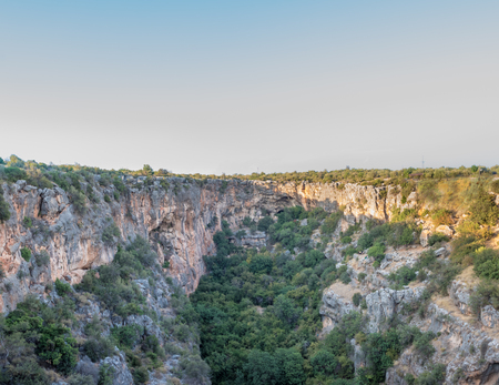 High resolution panoramic Aerial interior view of the Chasm of Heaven located in Silifke district, Mersin Turkey. Фото со стока
