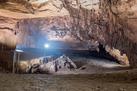 Deep inside view of cave of Chasm of Heaven in Silifke district.Mersin Turkey