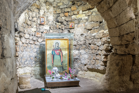 Saint Meryem(Mary,Marie) fresco at Apse of Aya Tekla underground cave Church also known as Saint Aya Thecla ,Aya Thekla, is ruined historic church of Byzantine.Silifke,Mersin,Turkey.