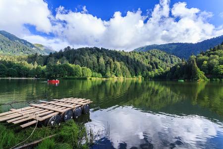 Landscape view of Karagol (Black lake) a popular destination for tourists,locals,campers and travelers in Eastern Black Sea,Savsat, Artvin, Turkey Imagens
