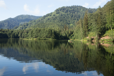 Landscape view of Karagol (Black lake) a popular destination for tourists,locals,campers and travelers in Eastern Black Sea,Savsat, Artvin, Turkey Stock fotó