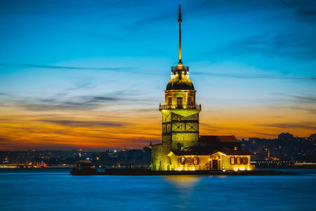 TURKEY -ISTANBUL:5 MARCH 2017 ,Maiden Tower,medieval buildinglighthouse,(Tower of Leandros,Turkish: Kiz Kulesi) at entrance to Bosporus Strait with Hagia Sophia and Blue Mosque in far distance Editorial