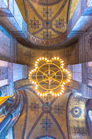Detailed Ceiling of Hagia Sophia,a Greek Orthodox Christian patriarchal basilica or church was built in 537 AD, later imperial mosque, and now museum in Istanbul, Turkey,March,11 2017.