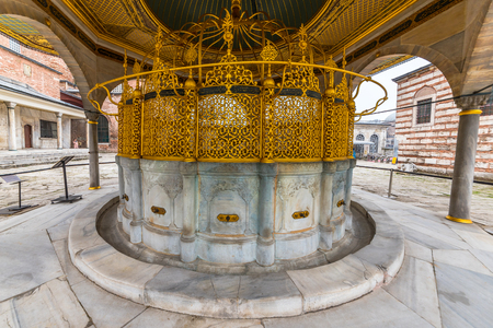Ablution fountain of Hagia Sophia,a Greek Orthodox Christian patriarchal basilica (church),built in 537 AD, later an imperial mosque, and now a museum.ISTANBUL, TURKEY- MARCH 11,2017