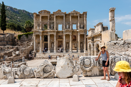 General view of Ancient Celsus Library at Ephesus historical ancient city, in Selcuk,Izmir,Turkey:20 August 2017 Editorial