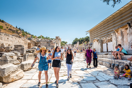 People visit ancient ruins at Ephesus historical ancient city, in Selcuk,Izmir,Turkey:20 August 2017 Editorial