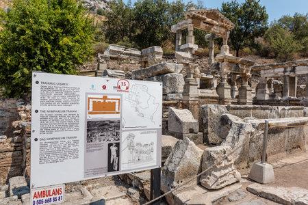 Fountain of Trajan at Ephesus historical ancient city, in Selcuk,Izmir,Turkey.