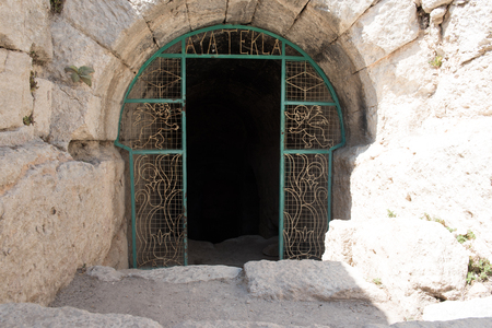 Gate of Aya Tekla underground cave Church also known as Saint Aya Thecla or Aya Thekla, is ruined historic church of Byzantine period pilgrimage site located in Silifke,Mersin,Turkey.
