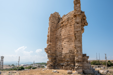 Exterior view of Great Basilica at Aya Tekla underground cave Church also known as Saint Aya Thecla or Aya Thekla, is ruined historic church located in Silifke,Mersin,Turkey.