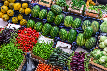 Top view of popular Melike Hatun Bazaar or kadinlar pazari(Women Bazaar) that is a traditional Turkish grocery bazaar where people buy Vegetables, fruits and spices in Konya,Turkey.