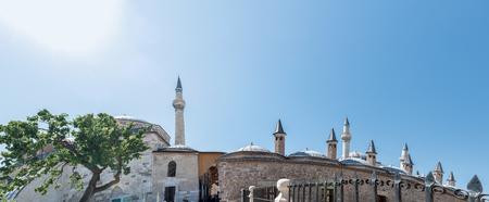 Exterior panoramic view of Mevlana museum in Konya,Turkey.28 August 2017