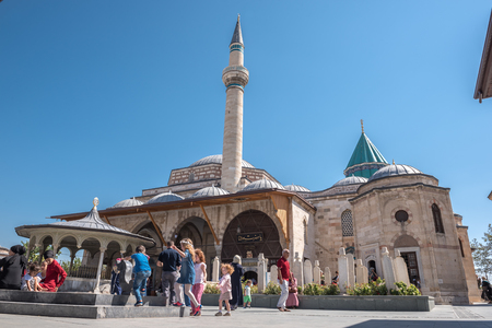 People visit Mevlana museum in Konya,Turkey.28 August 2017