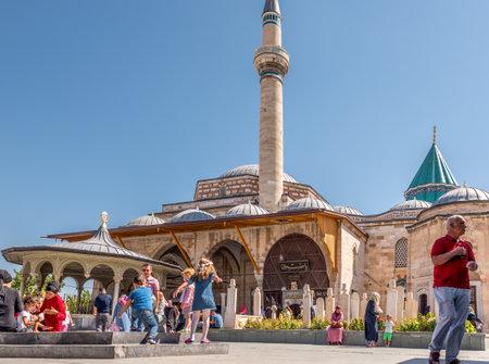 People visit Mevlana museum in Konya,Turkey.28 August 2017