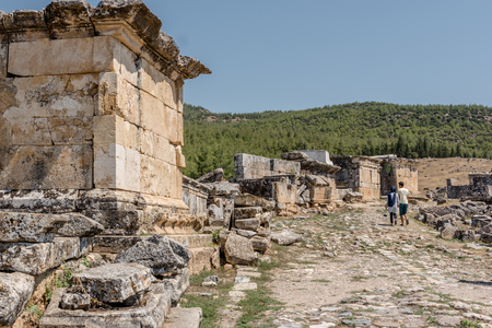 People visit Ancient tombs at Hierapolis northern necropolis in Pamukkale, Turkey. UNESCO World Heritage.25 August 2017